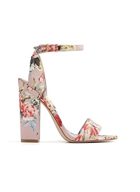 Aldo Çiçek Desenli Kalın Topuklu Ayakkabı Pembe